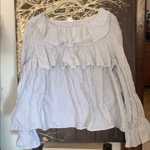 Gap pinstripe ruffle blouse
